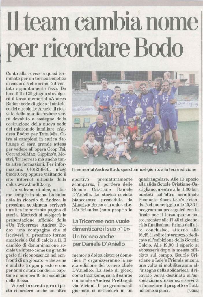 Il Team cambia nome per ricordare Bodo - Articolo uscito su  La Stampa del  11-06-2012